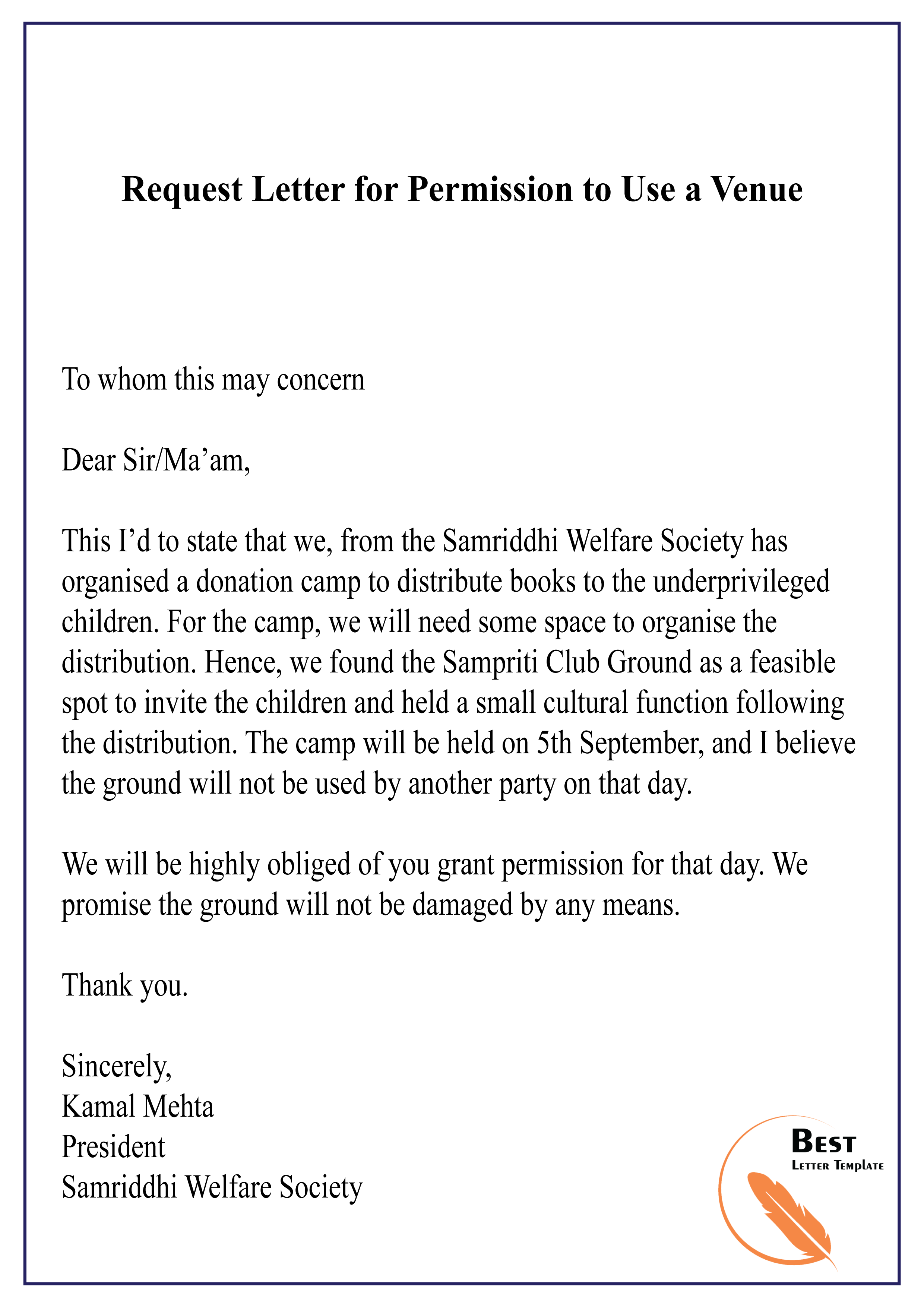 Sample Request Letter For Permission To Use A Venue idea gallery