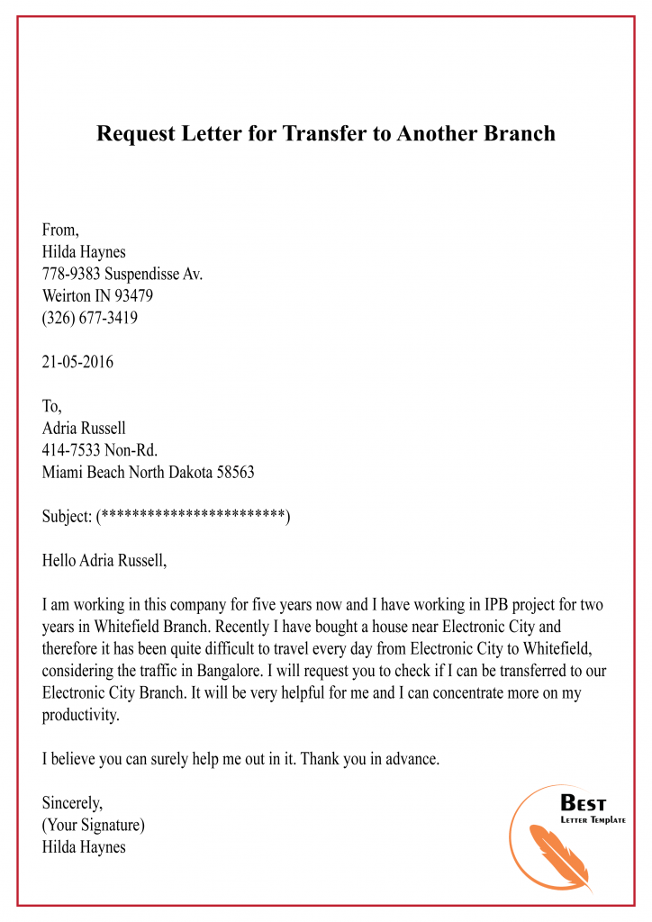 Request Letter for Transfer to Another Branch