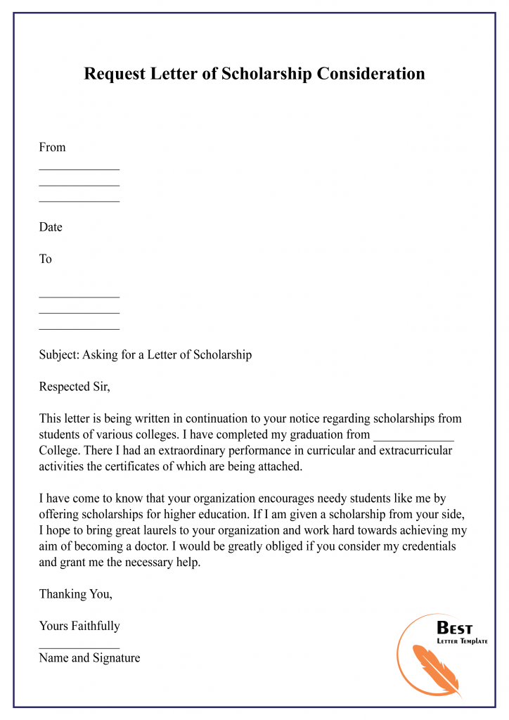 SCHOLARSHIP rEQUEST LETTER