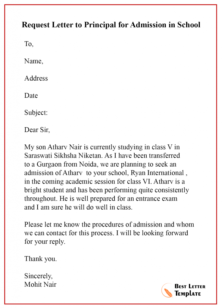 Request Letter Template To Principal