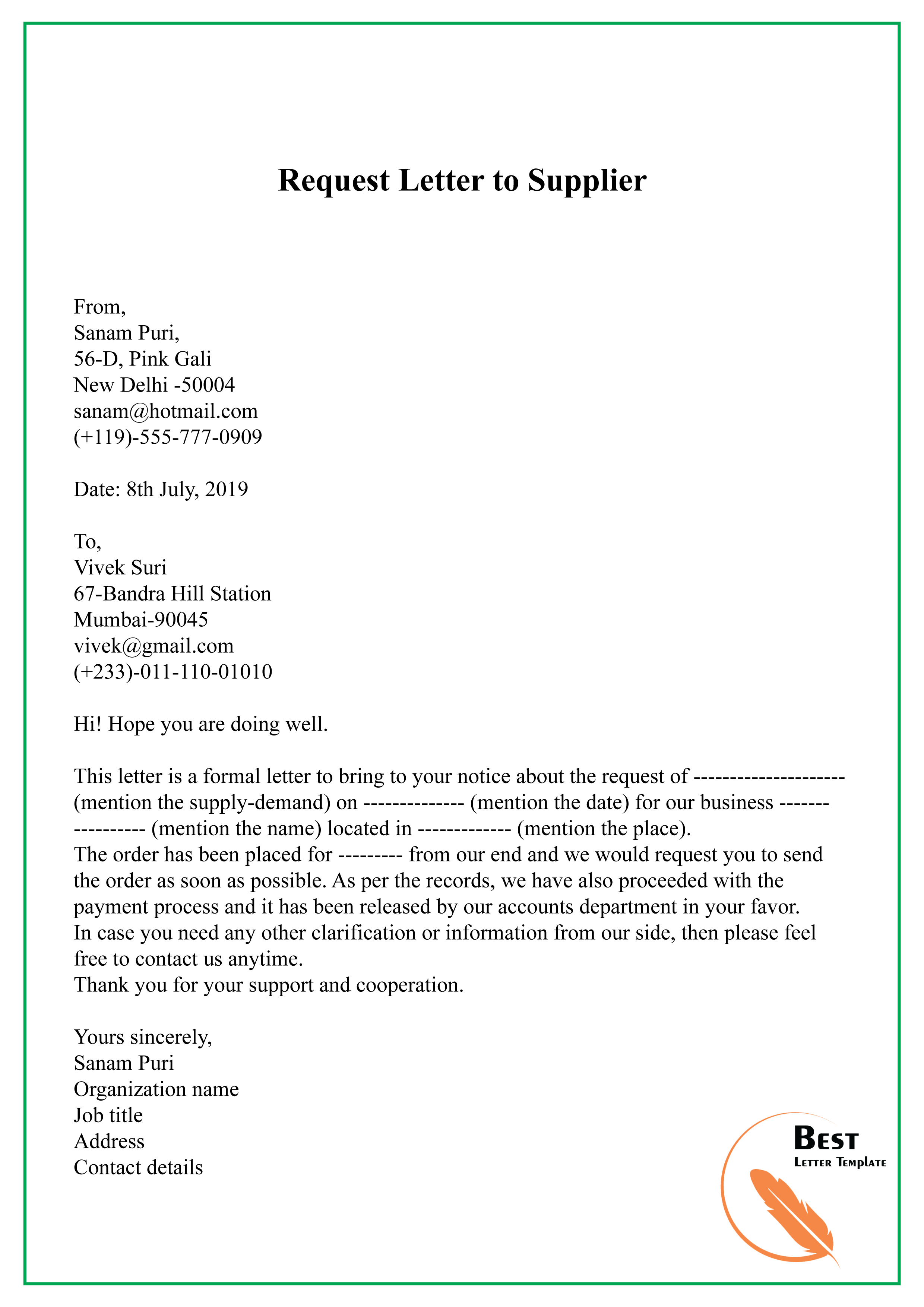 Request Letter to Supplier-01 - Best Letter Template