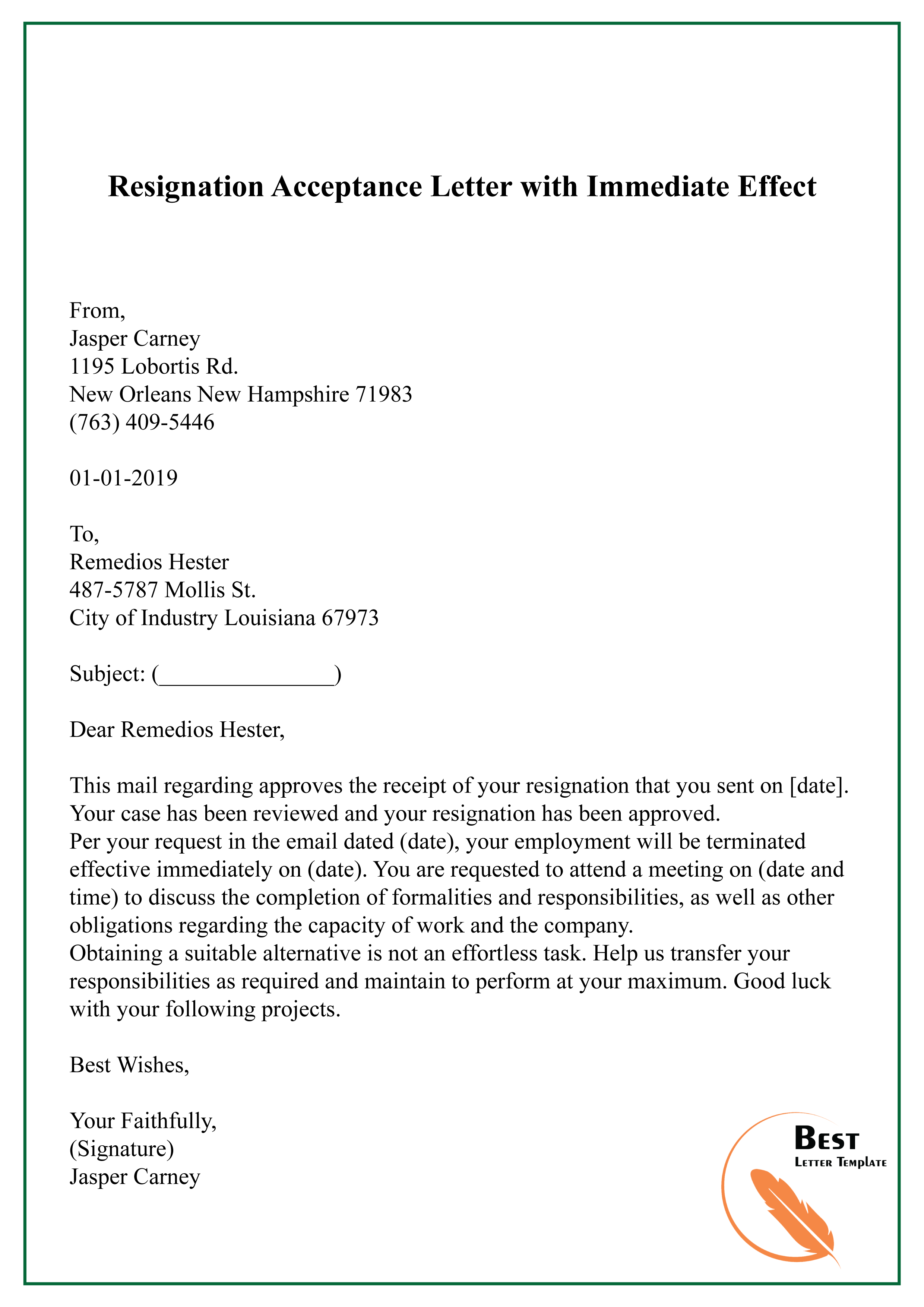 Resignation Letter With Immediate Effect from bestlettertemplate.com
