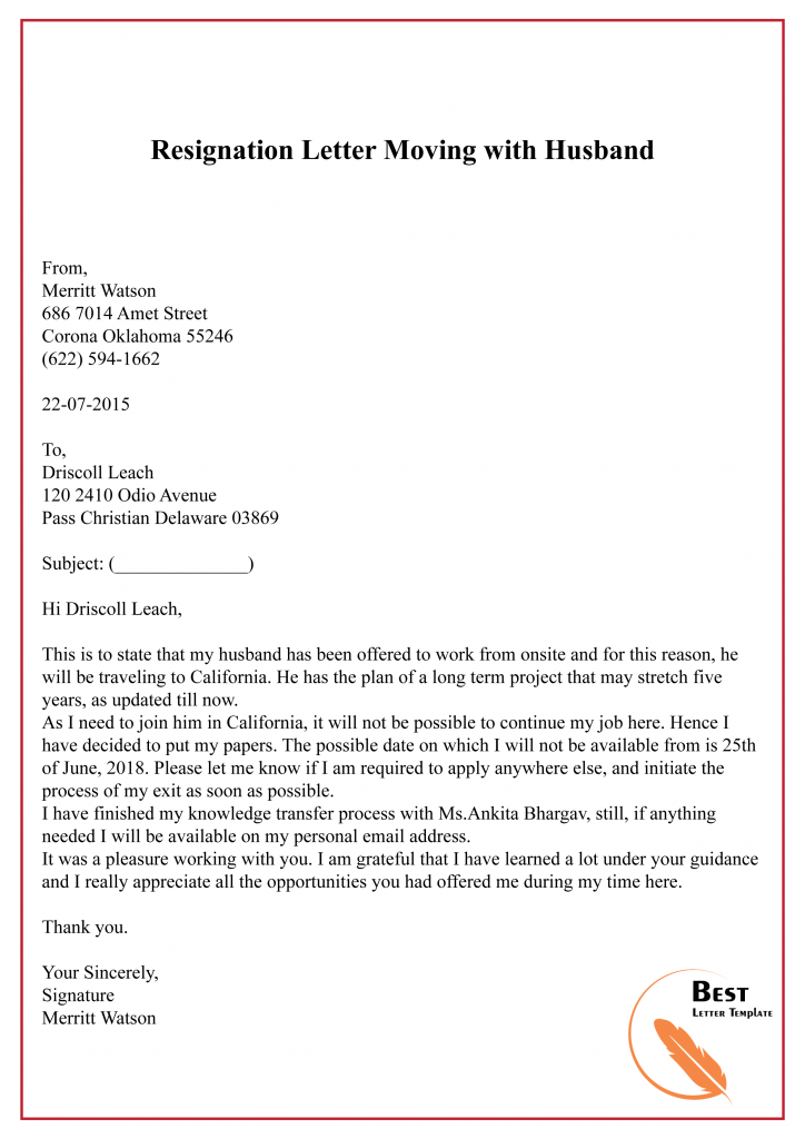 Resign Letter Template Doc from bestlettertemplate.com