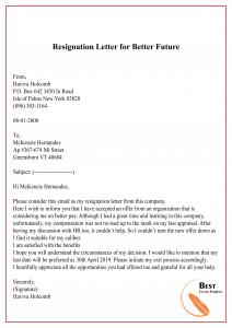 Resignation Letter for Better Future