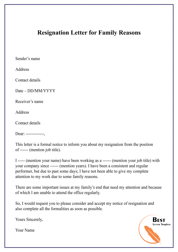 Resignation Letter Health Issues from bestlettertemplate.com