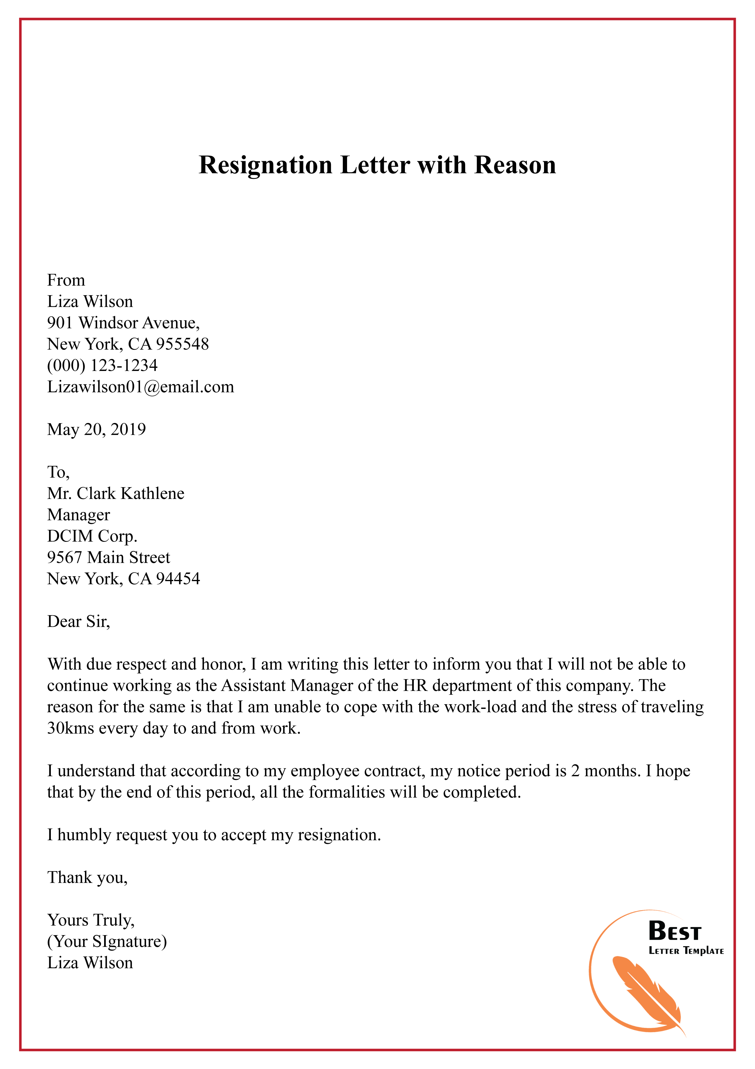 Resignation Letter with Reason-01 - Best Letter Template
