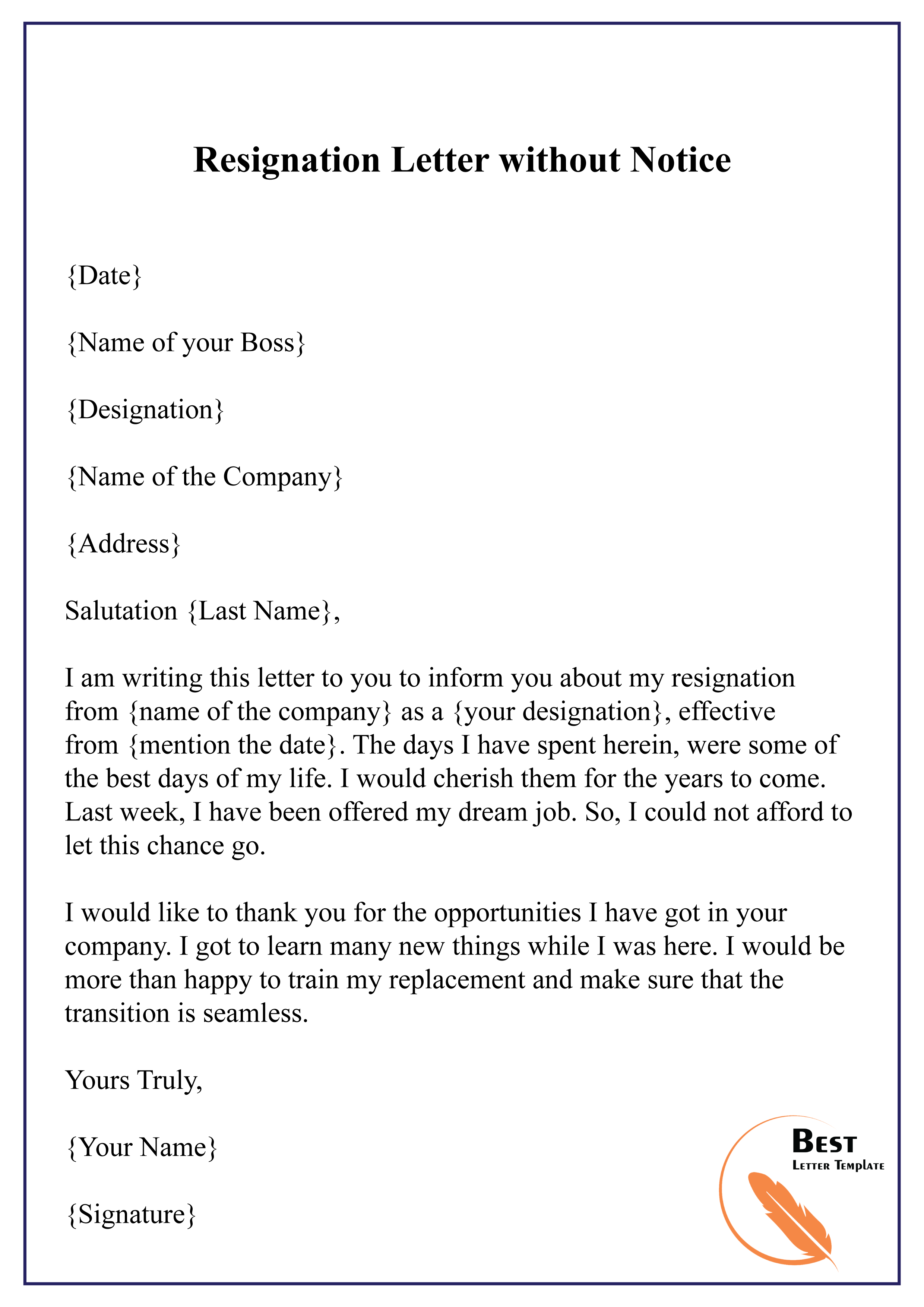 best resignation letter without notice  sample