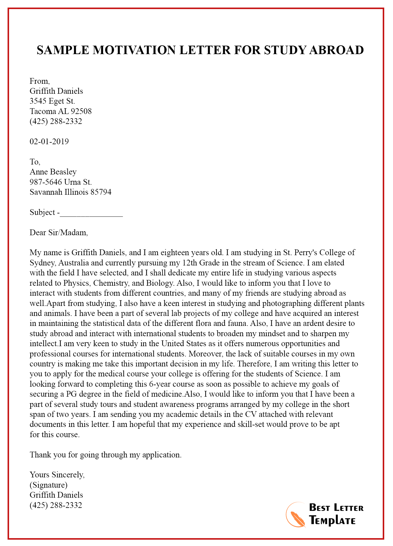 Sample Motivation Letter Template for Study Abroad - PDF ...
