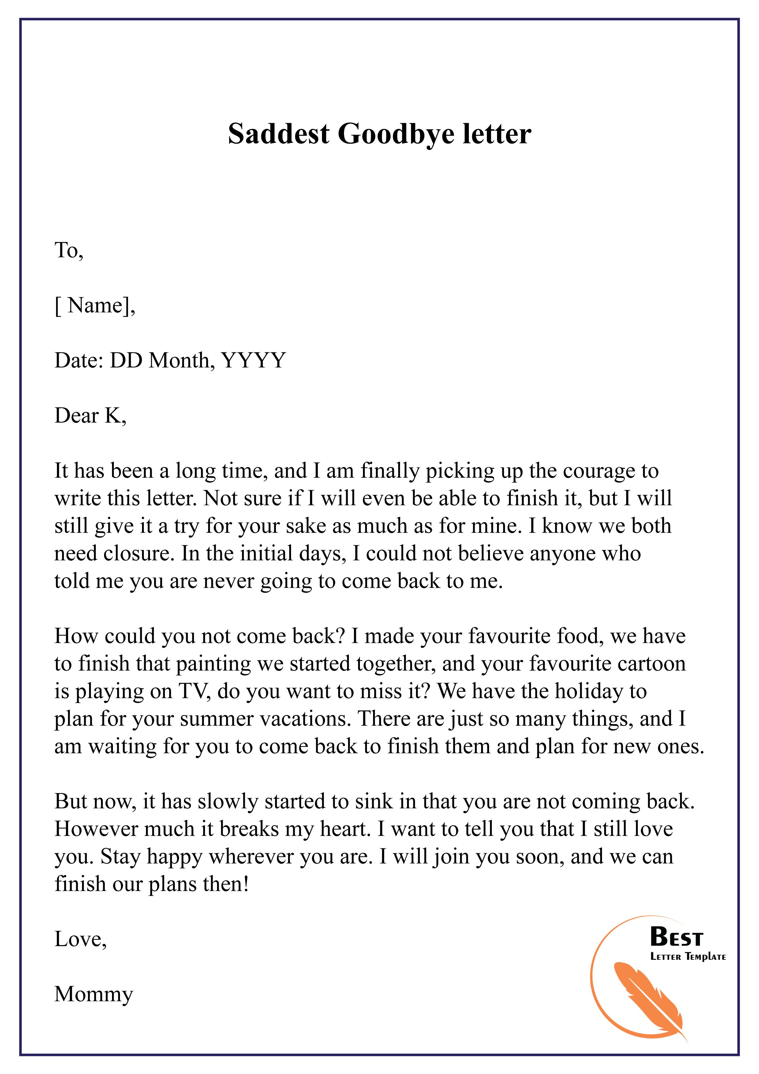 Saddest Goodbye letter-01 - Best Letter Template
