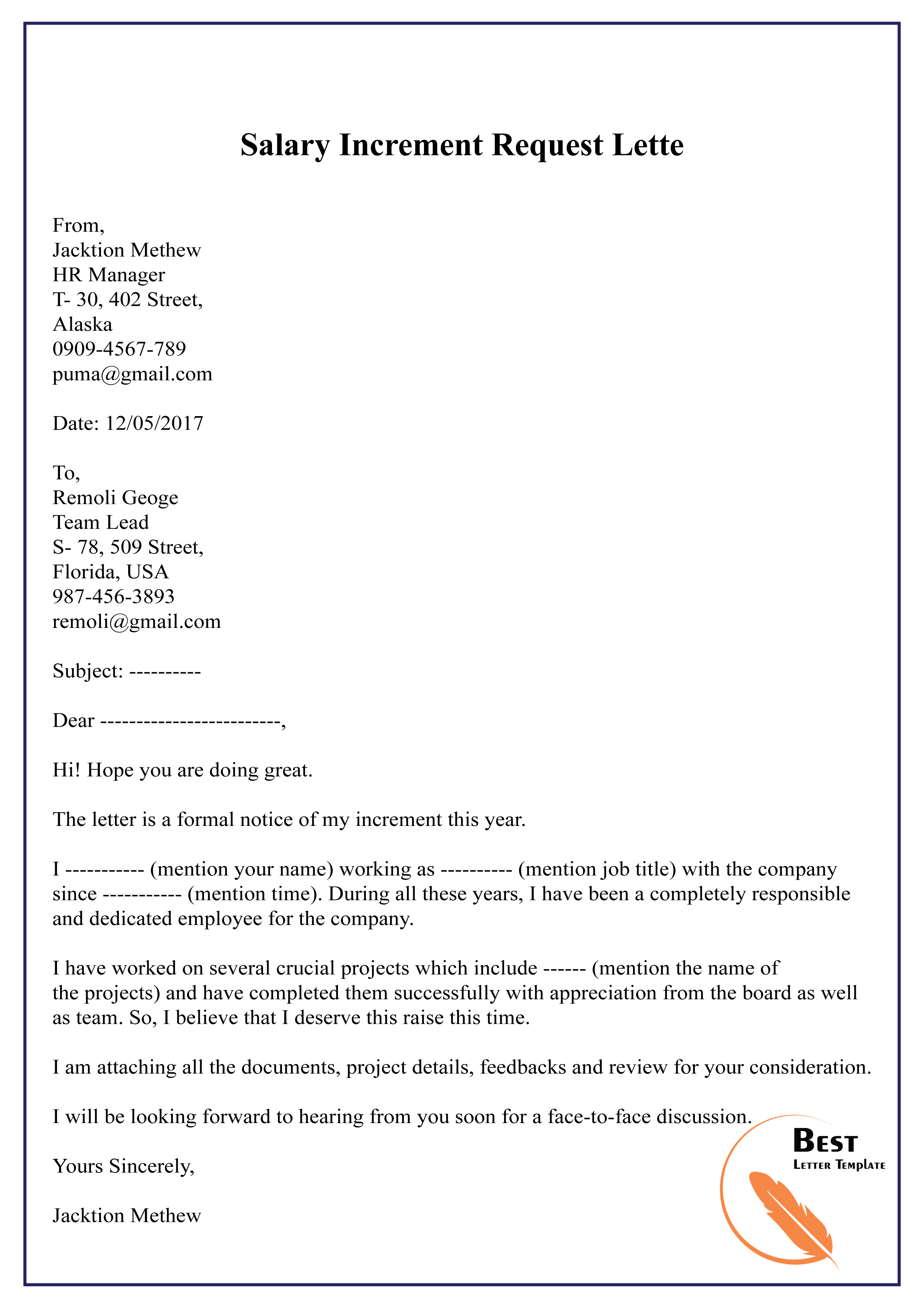 Raise Request Letter Template from bestlettertemplate.com