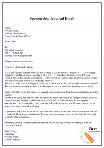 Sponsorship Proposal Email