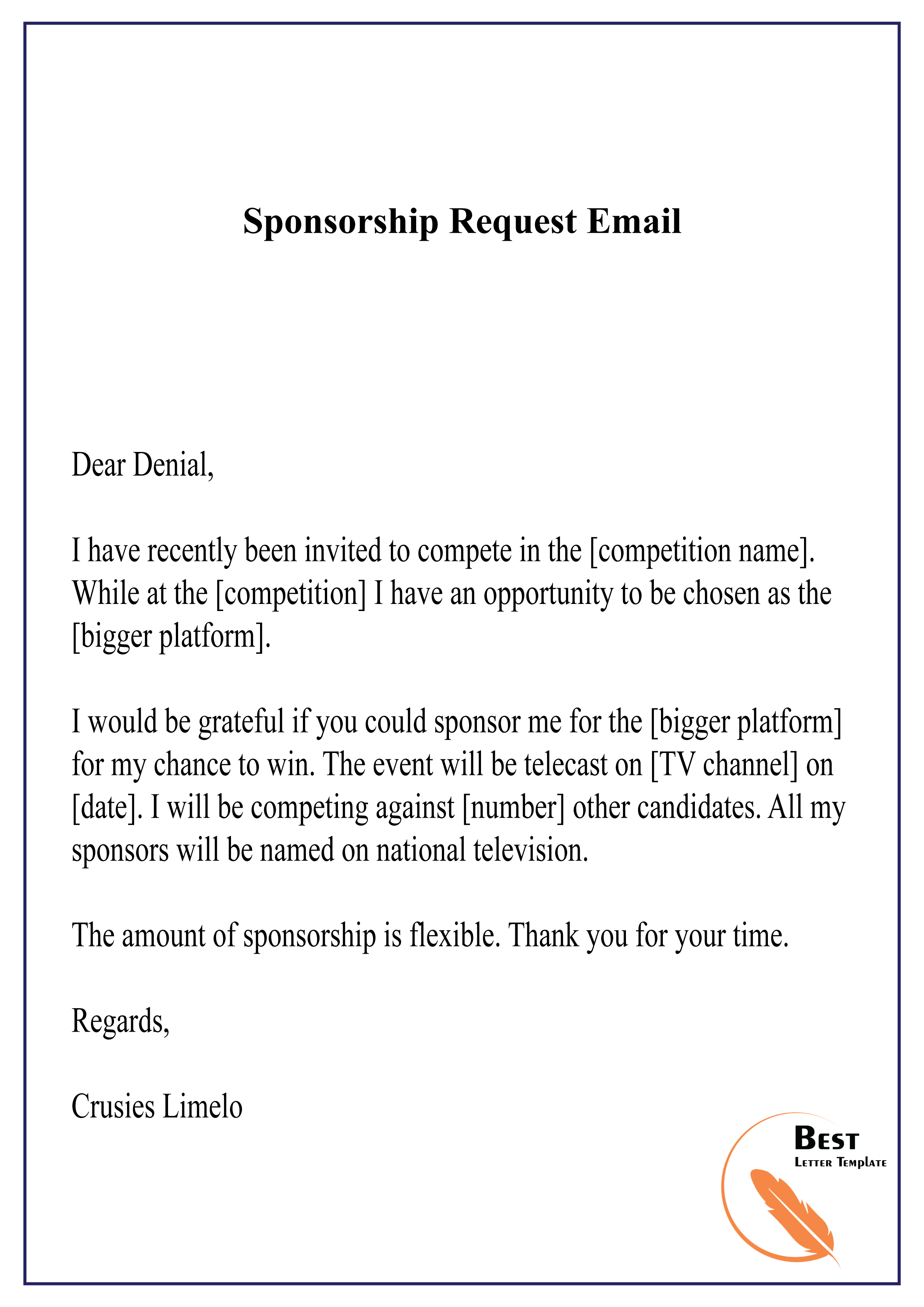 Sponsorship Request Email-01 – Best Letter Template