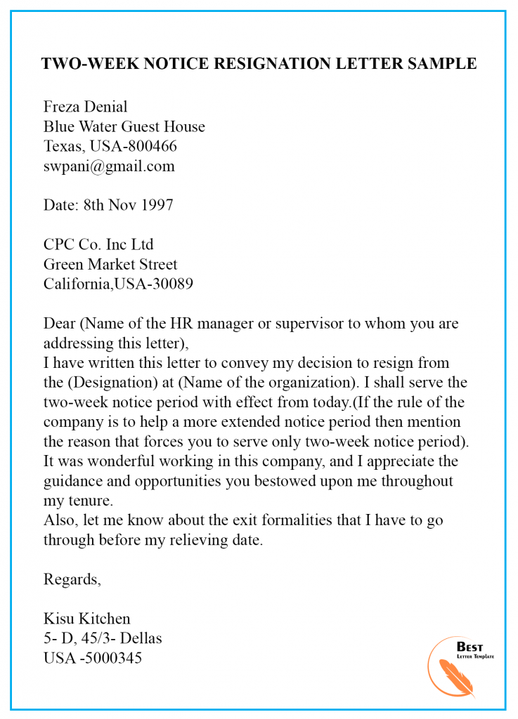 Formal Resignation Letter Sample With Notice Period from bestlettertemplate.com