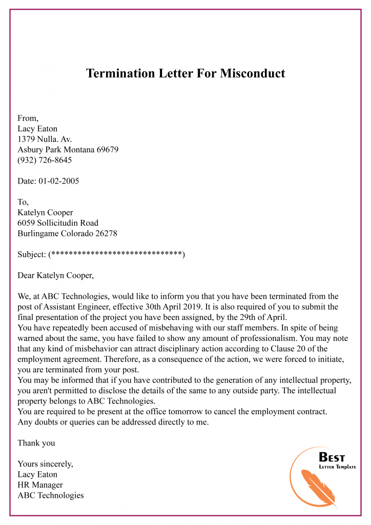 Termination Letter For Misconduct