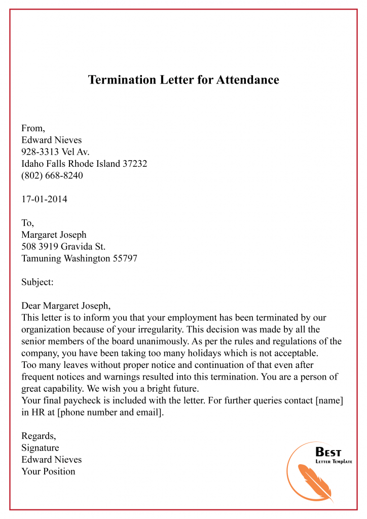 Termination Letter for Attendance