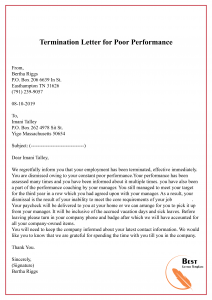 Termination Letter for Poor Performance