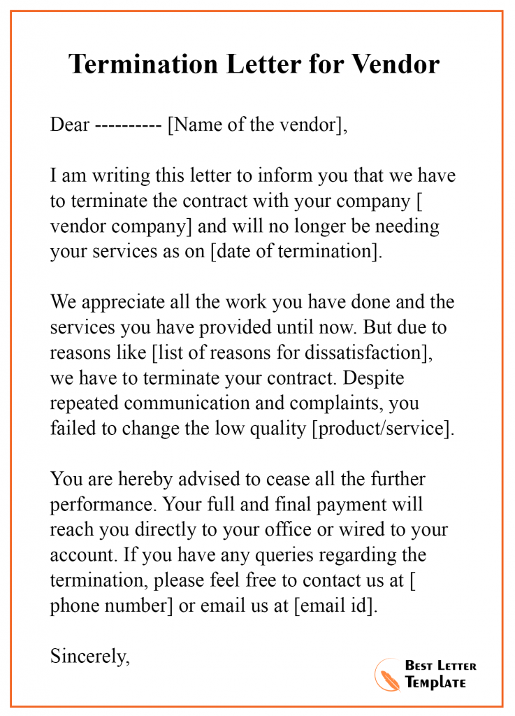 Termination Letter for Vendor