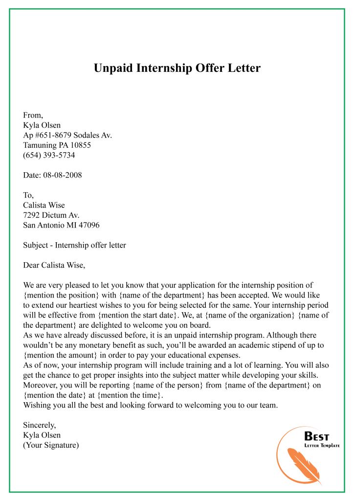 Unpaid Internship Offer Letter