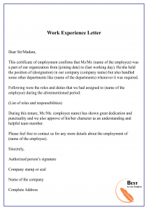 Work Experience Letter