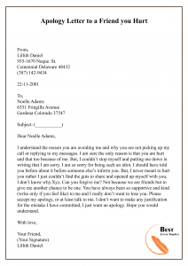 Apology Letter Template to a Friend – Sample & Example | Best Letter