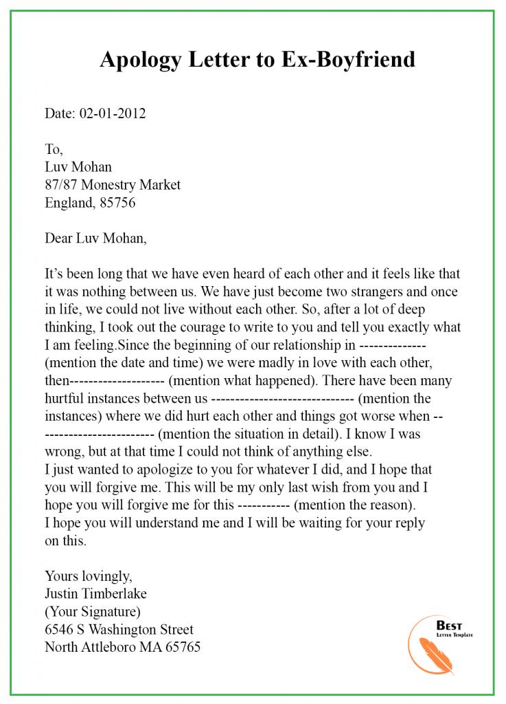 Apology letter to ex boyfriend