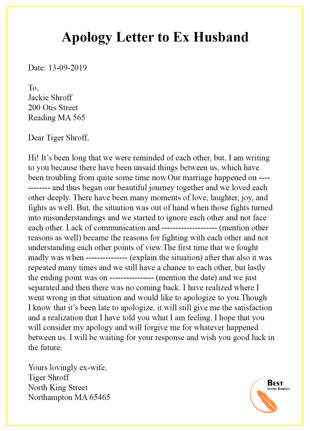 Apology Letter Template to Ex - Sample & Examples