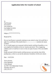 Application letter for transfer of school