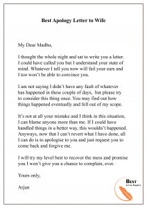 Best Apology Letter to Wife