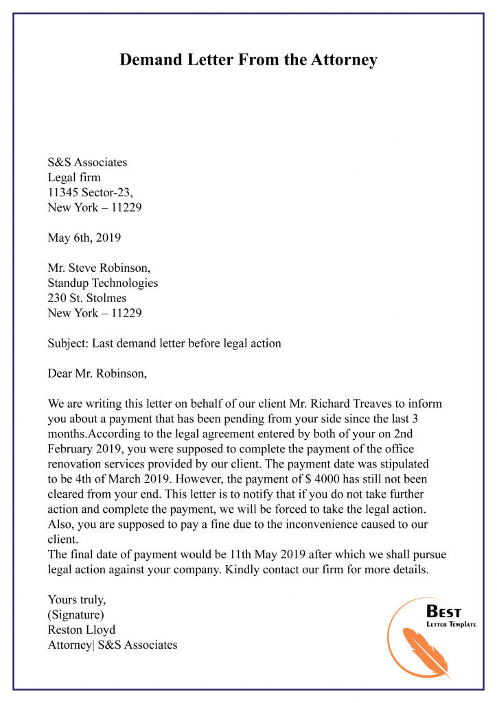 Demand Letter From the Attorney