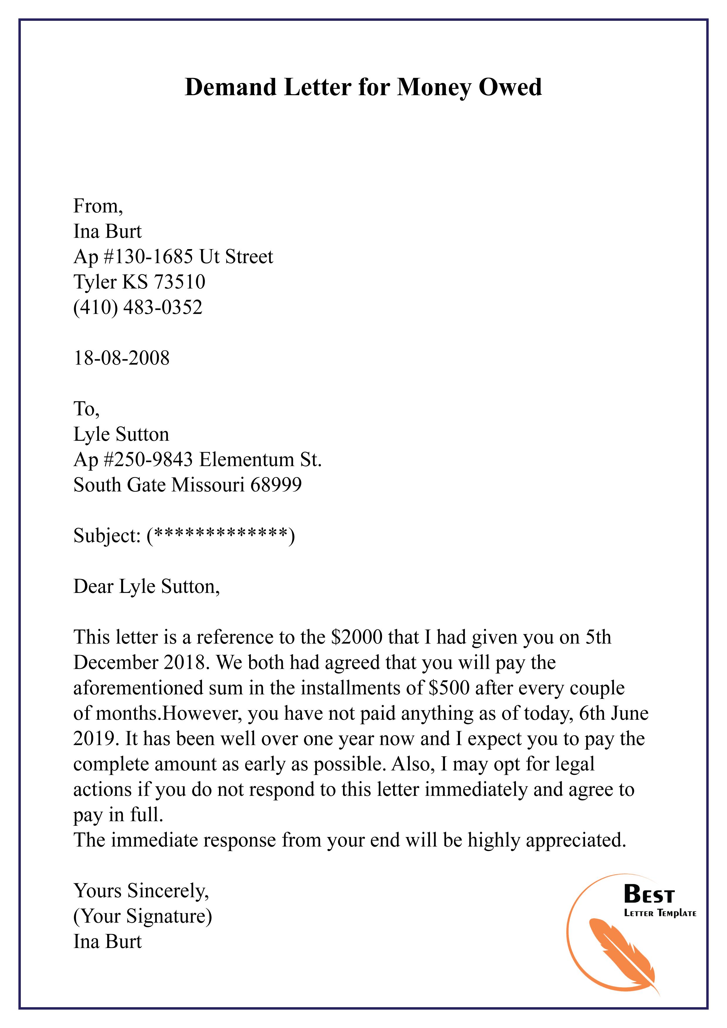 Demand Letter For Money Owed Sample from bestlettertemplate.com