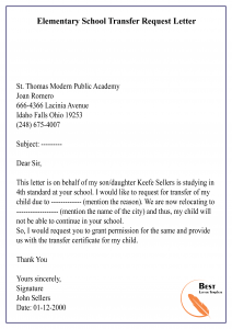 Elementary School Transfer Request Letter