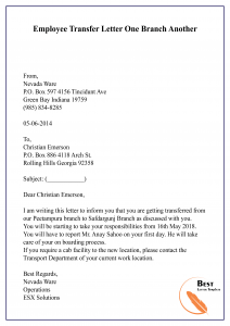 Employee Transfer Letter One Branch Another