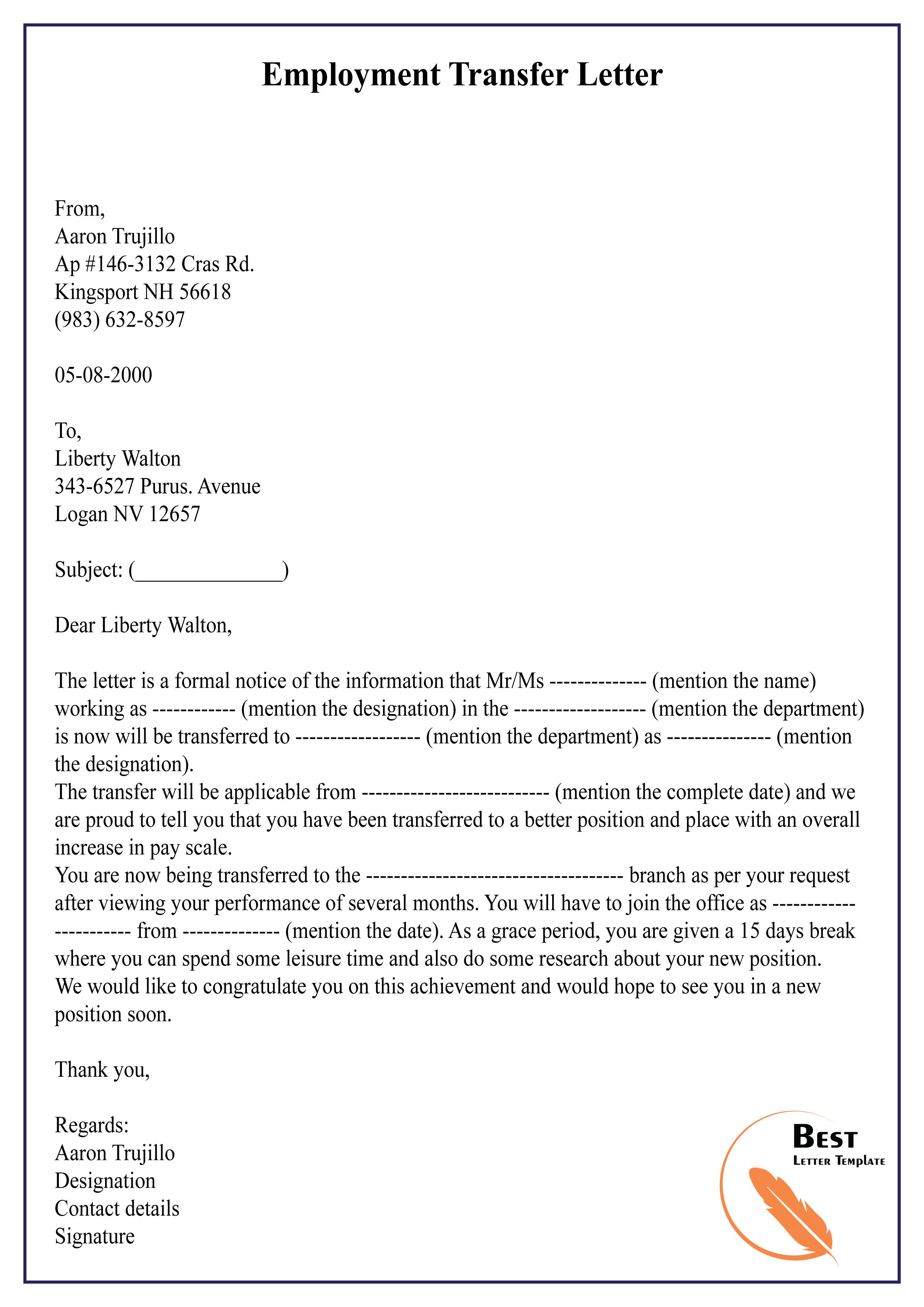 Job Transfer Letter Template from bestlettertemplate.com
