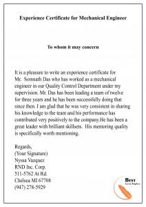 Experience Certificate for Mechanical Engineer