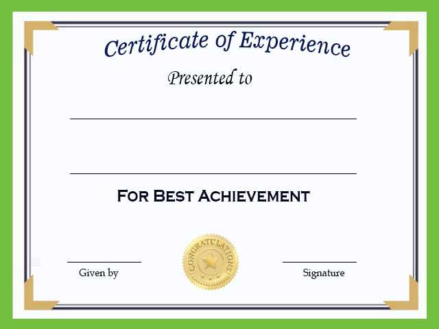 Experience Certificate Template FOR TEACHERS