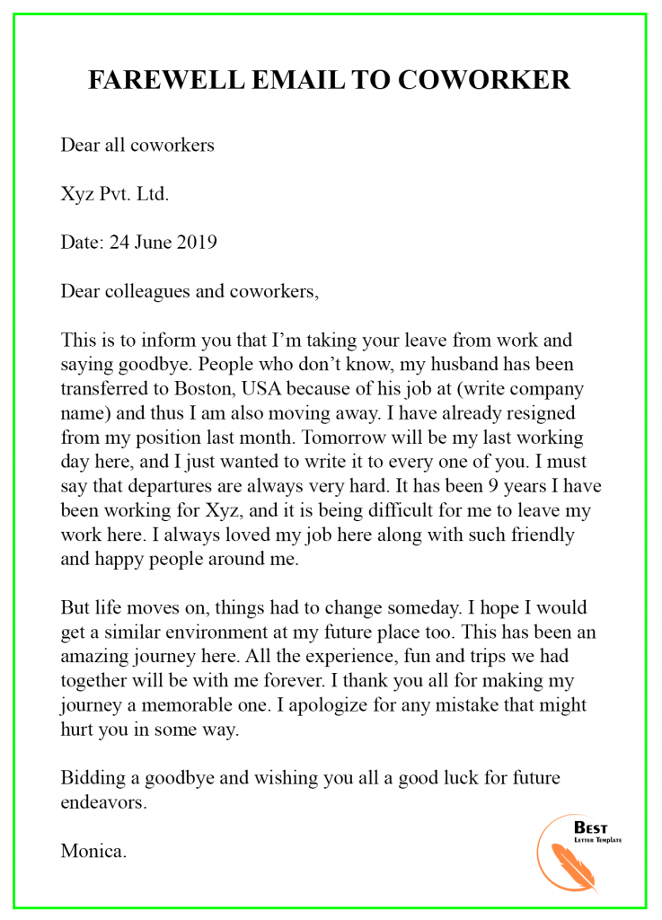 Farewell Email Template