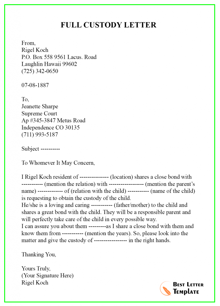Character Reference Letter Template for Court Child Custody