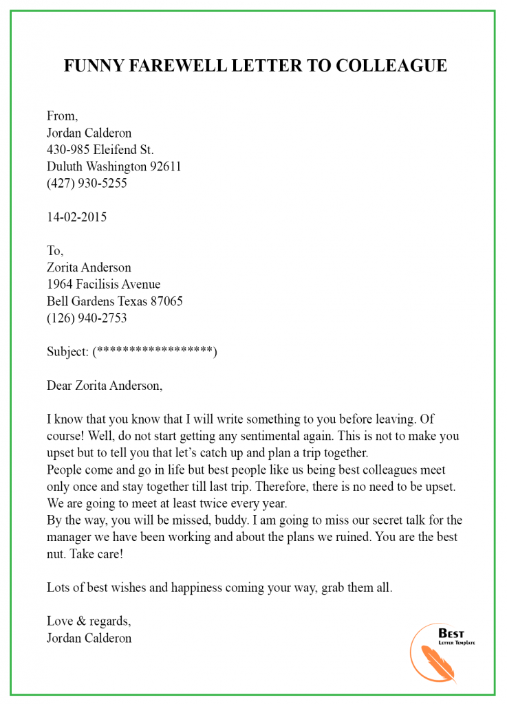 Sample Farewell Letter To Coworkers from bestlettertemplate.com