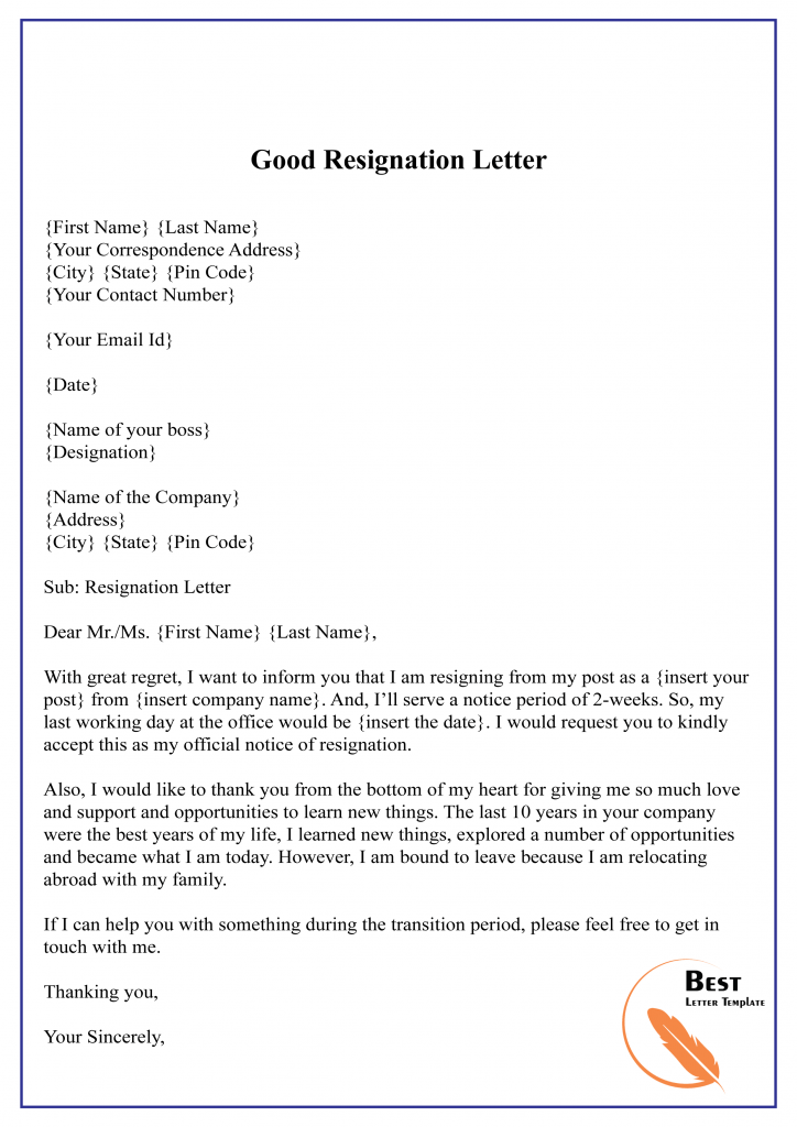 10+ Free Resignation Letter Template – PDF, Word [Doc.]