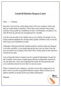 Goodwill Deletion Request Letter