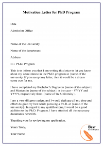 Motivation Letter for PhD Program