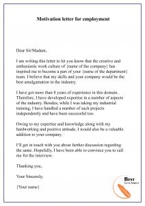 Motivation letter for employment