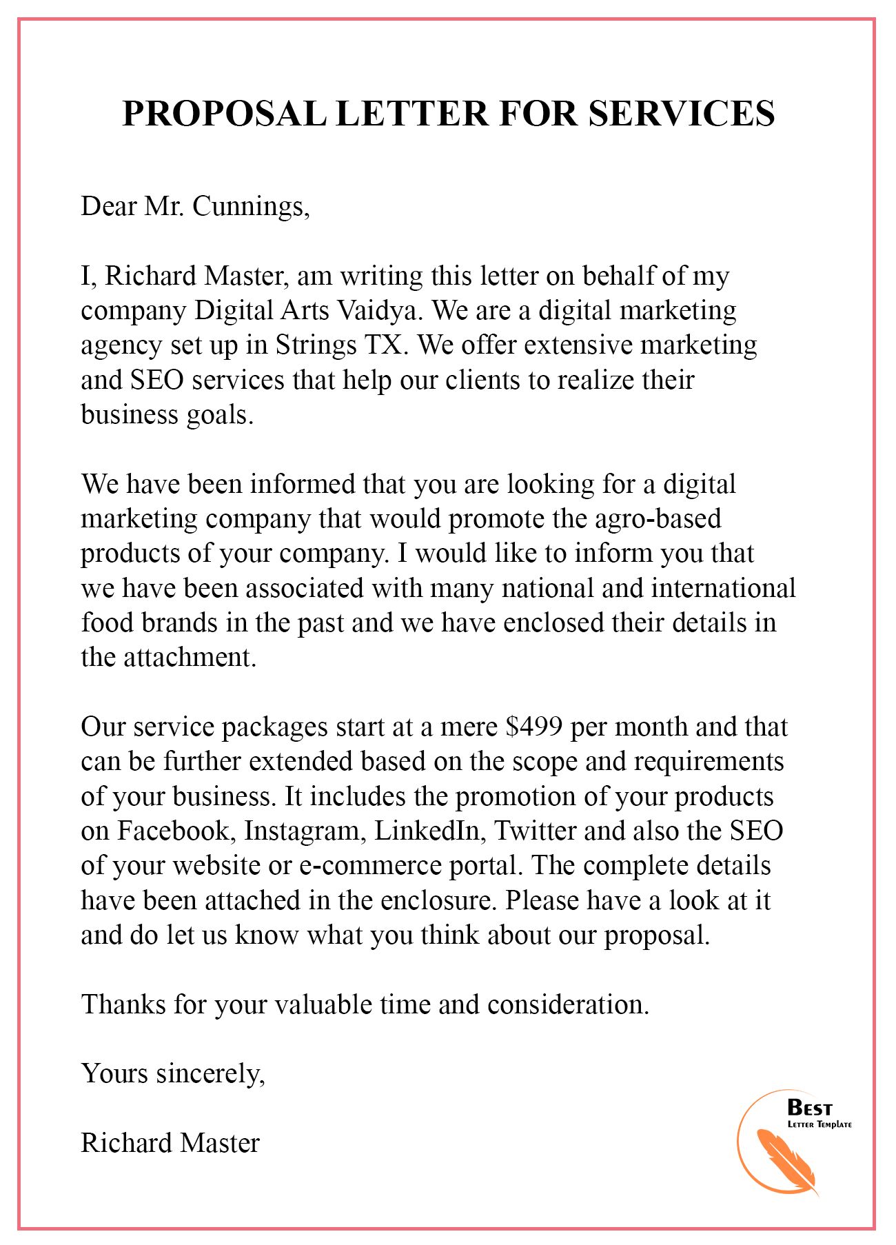 Proposal Letter Sample For Services from bestlettertemplate.com