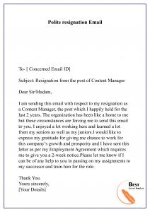 Polite resignation Email