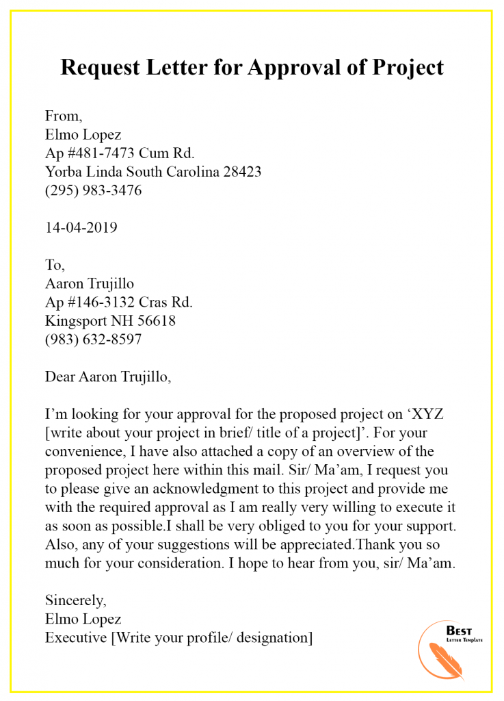 Request Letter Templates For Approval