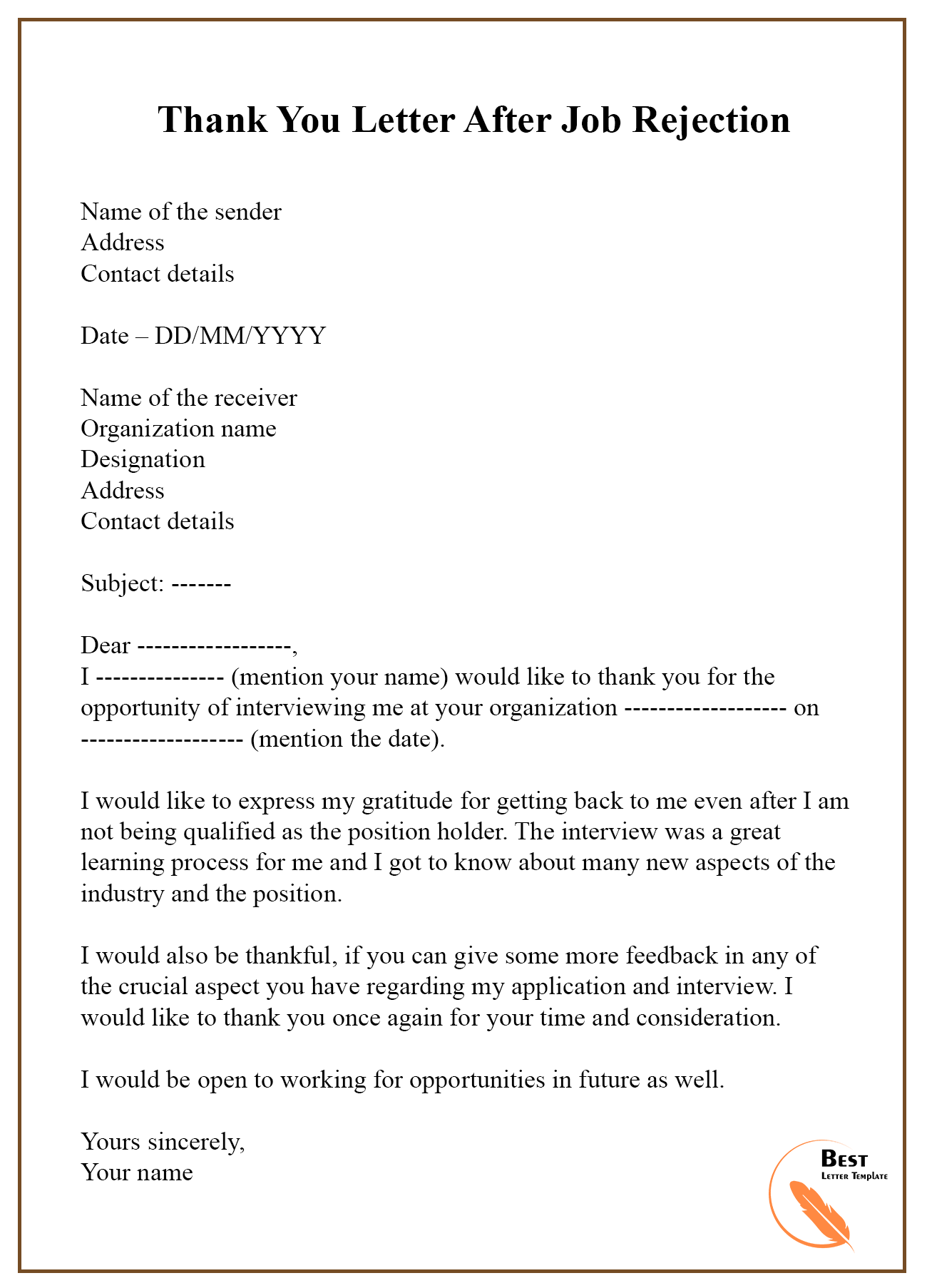Thank You Letter After Job Rejection from bestlettertemplate.com