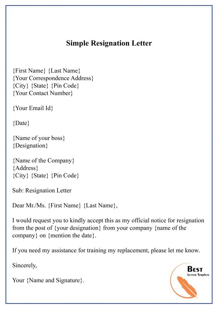 Resignation Letter Template Word Doc from bestlettertemplate.com