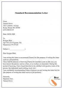 Standard Recommendation Letter