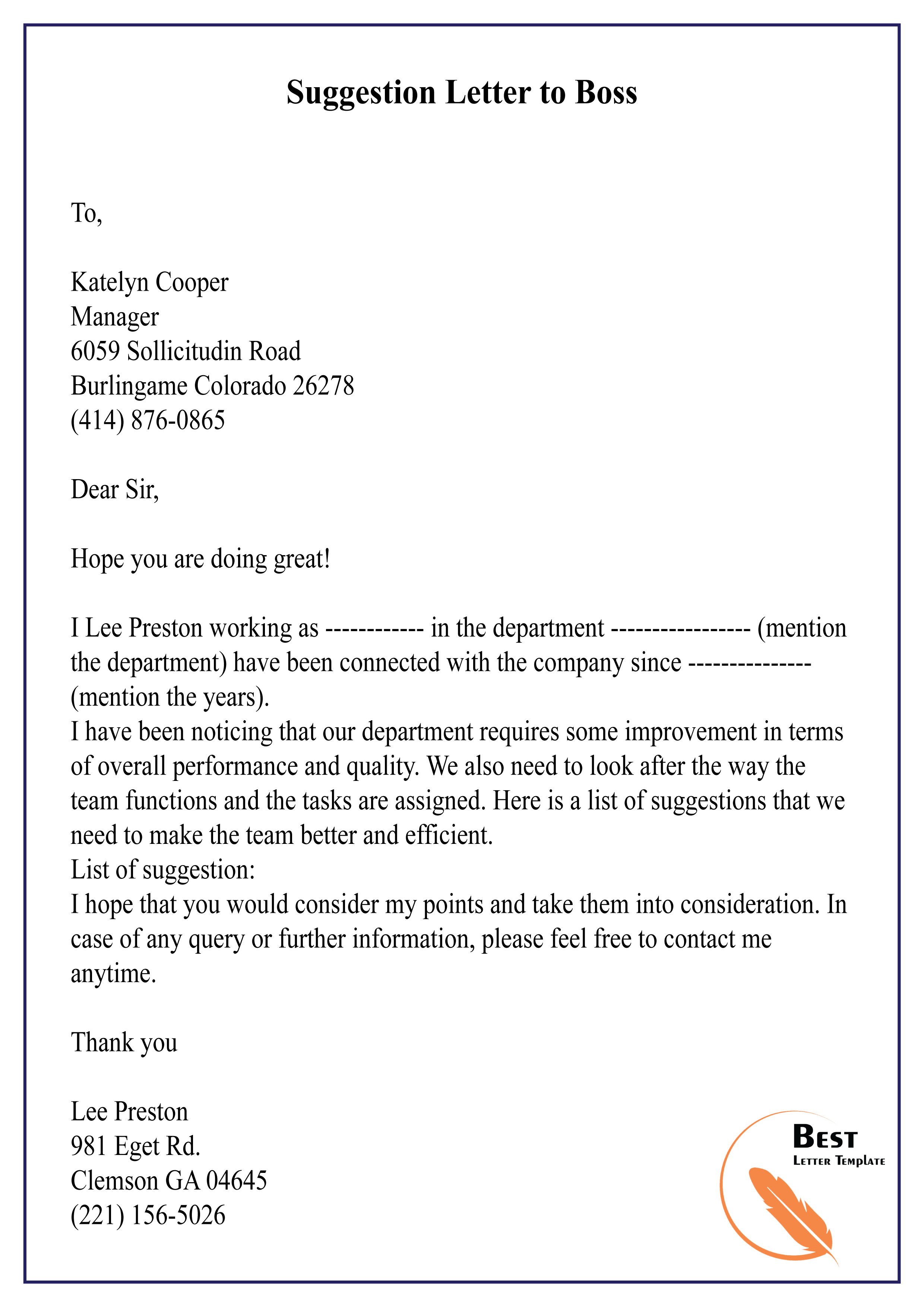 Compliment Letter To Boss from bestlettertemplate.com
