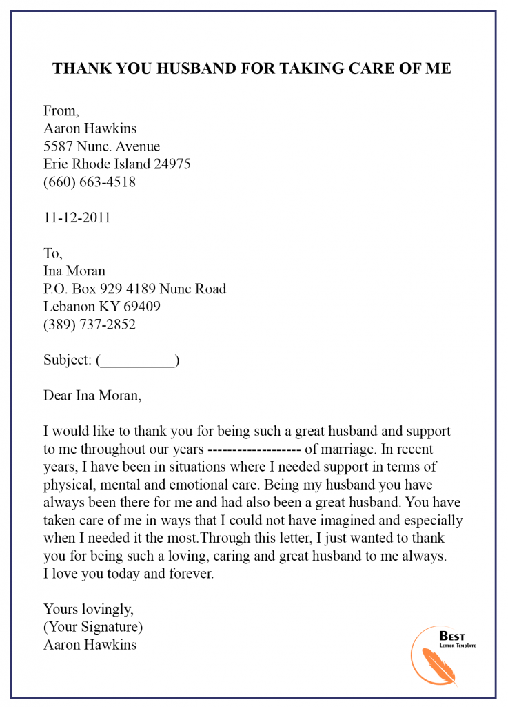 Thank You Letter Template to Husband